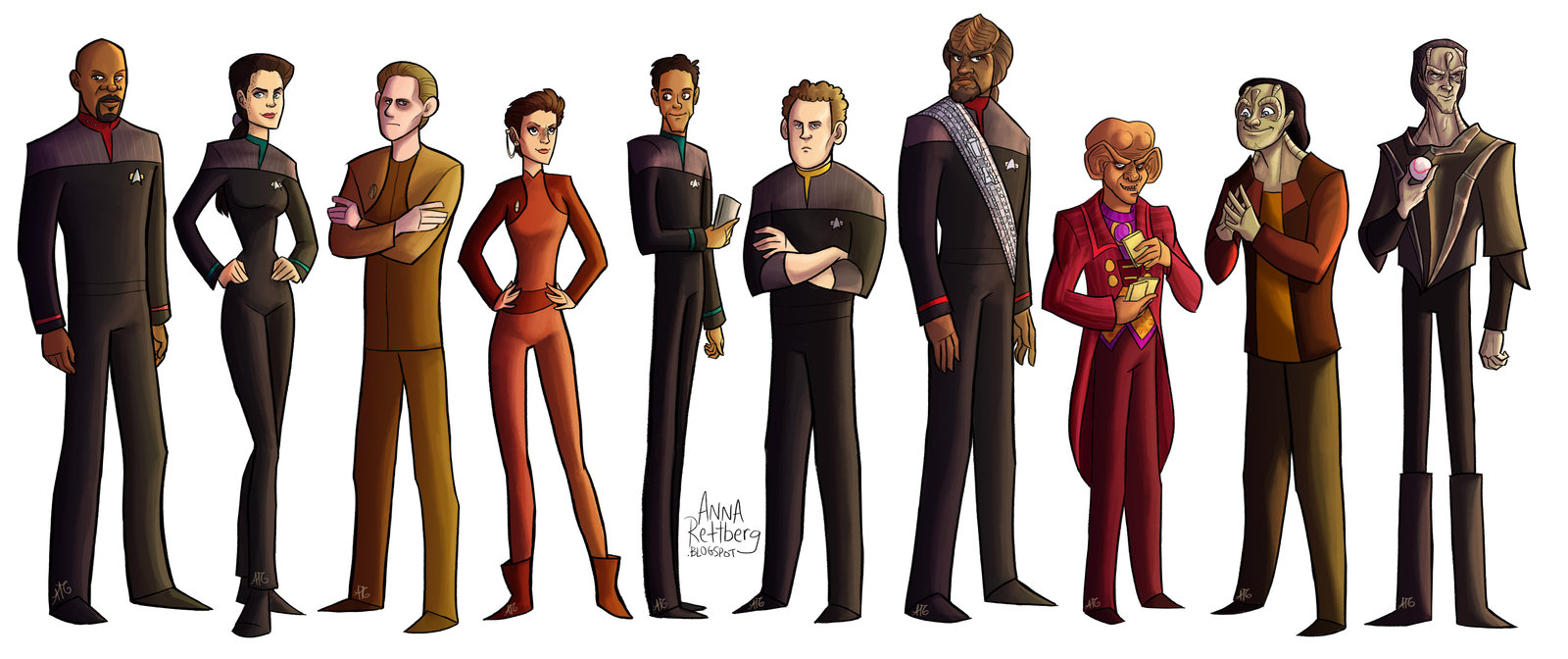 Awesome Illustration of Star Trek DS9 cast by Anna Rettberg