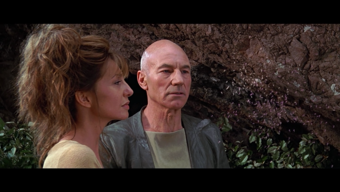 Star Trek: Insurrection Picard and young old lady